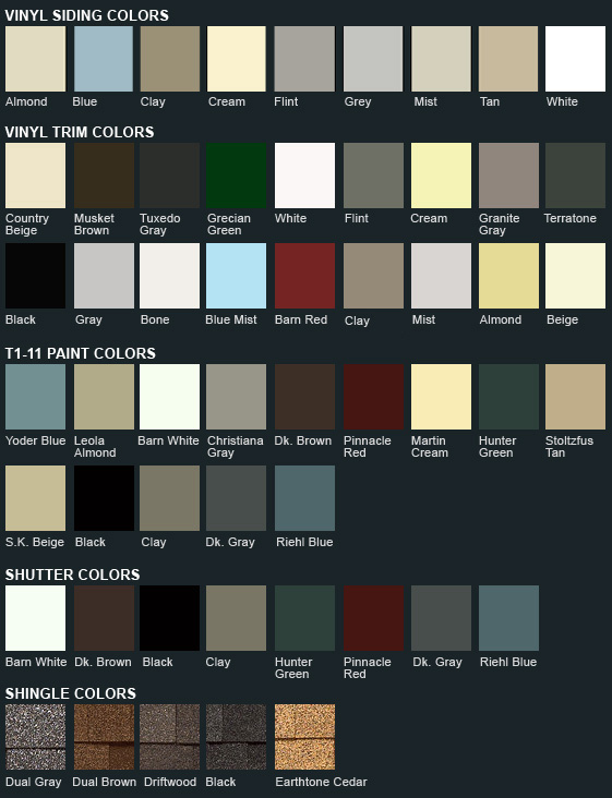 Other shed styles lancaster garden sheds for Siding styles and colors